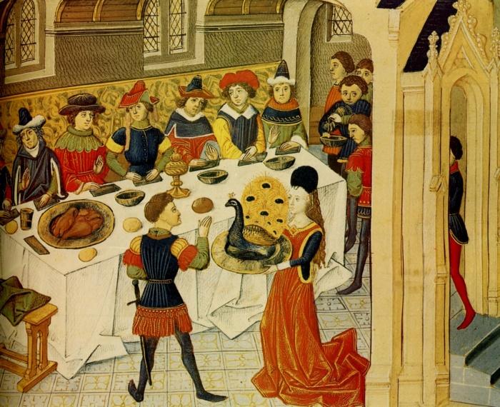 Как правило, во время средневековой трапезы ножки стола были прикрыты.